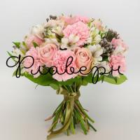 Букет из роз, альстромерии и брунии
